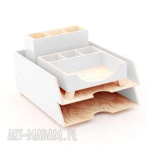 pudełka przyborniki na biurko - organizery dokumenty 4 szt białe