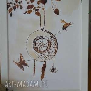 łapacz snów - obraz kawą malowany dreamcatcher, abstrakcja