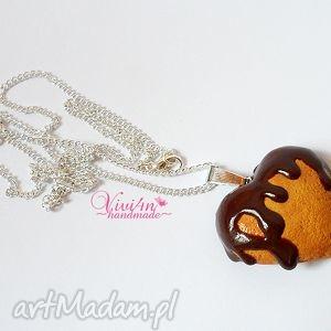 Serce w czekoladzie naszyjniki viviart serce, walentynki, fimo