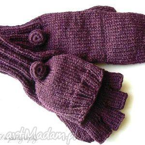 bezpalczatki z klapką 14 - rękawiczki, mitenki, klapka, dziergane, wełna