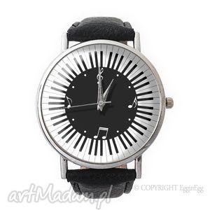 muzyczny czas - skórzany zegarek z dużą tarczą - zegarek, skórzany