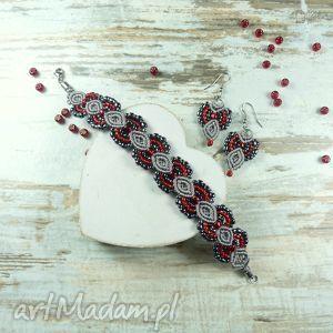 Elegancki komplet biżuterii w odcieniach czerwieni i szarości, komplet, makrama
