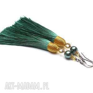 boho /sea green/ - kolczyki, srebro, oksydowane, pozłacane, chwosty, perły