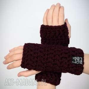 LaCzapaKabra: rękawiczki 02 - bordowe - mitenki, zestaw komplet, upominek zima