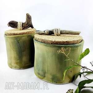 zestaw pojemników ceramicznych, pojemnik, prezent, sztuka, dekoracja, korek