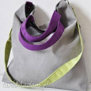ręczne wykonanie na ramię torba hobo xxl -szary, limonka, fiolet
