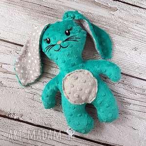 Szmaragdowy królik - maskotka przytulanka, królik, maskotka, minky, haft, dziecko