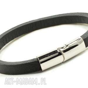 prosta skórzana bransoletka z magnetycznym zapięciem - skórzana, elegancka