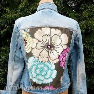 jeansowa kurtka z aplikacją w kwiaty - kurtka, jeans, dżins, aplikacja, kwiaty