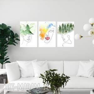 obraz - plakat tryptyk kobiecy 50 x 70, dekoracje, wnętrze, dom, obraz, linia