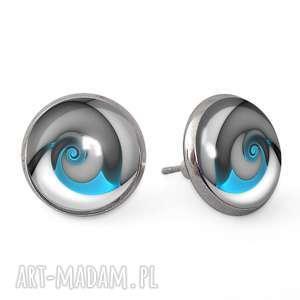 niebieski ślimak - kolczyki sztyfty egginegg, prezent spirala