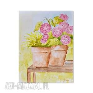 Kwiaty w doniczce 2, akwarela, obraz, kwiaty