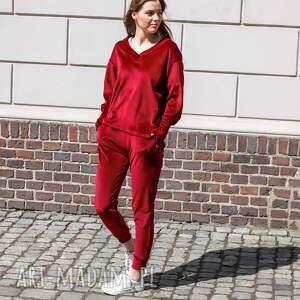 handmade sportowe elegancki komplet dresowy welurowy kolor bordowy lona