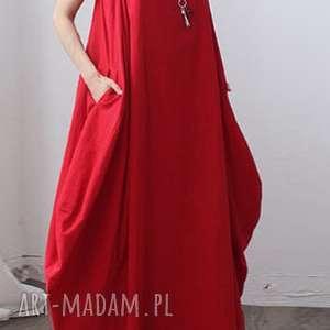Prezent sukienka oversize czerwona na lato, sukienka, len, oversize, prezent