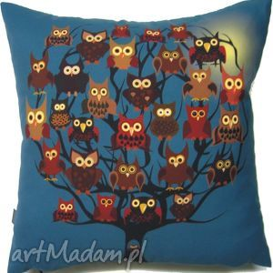 poduszka dekoracyjna z sowami, poduszka, dekoracyjna, prezent, oryginalna