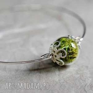 handmade bransoletki posrebrzana bransoletka z prawdziwym zielonym mchem