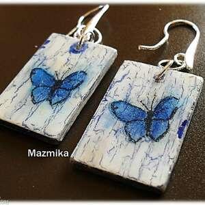 Modraszki - ,decoupage,biżuteria,kolczyki,ucho,kobiece,