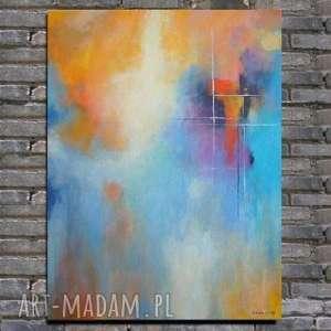 Obraz na płótnie - ABSTRAKCJA 40/50 cm, abstrakcja, niebieski, szary, obraz