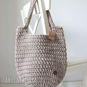 torba ze sznurka bawełnianego perłowa, kosz sznurka, na lato