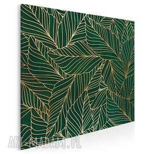 Obraz na płótnie - liście art-deco złoty w kwadracie 80x80 cm