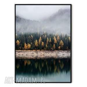 Plakat skandynawski las - odbicie w jeziorze plakaty myscandi