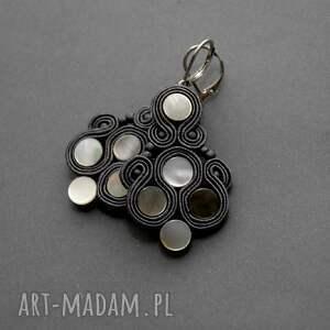 klipsy sutasz z masą perłową, sznurek, eleganckie, wiszące, grafitowe