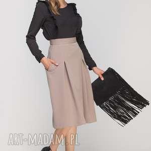 Spódnica z zakładką, SP116 beż, casual, elegancka, rozkloszowana, kieszenie, długa,
