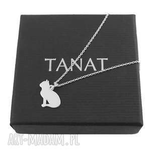 Srebrny naszyjnik z kotem GRAWER, srebrny, naszyjnik, kot, grawer, personalizowany