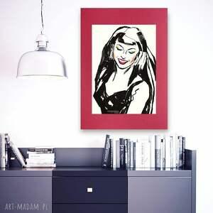 plakat z dziewczyną na bordowym tle, grafika pop art, obrazek art,nowoczesna