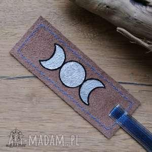 zakładki skórzana malowana zakładka do książki księżycowa, księżyc, pełnia