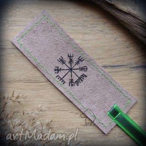 Skórzana malowana zakładka do książki Vegvisir, vegvisir, kompas, wiking, wikingowie