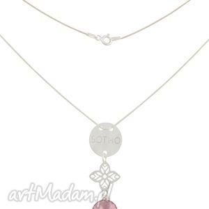 hand made naszyjniki srebrny naszyjnik karma z orientalną rozetą rivoli swarovski® elements