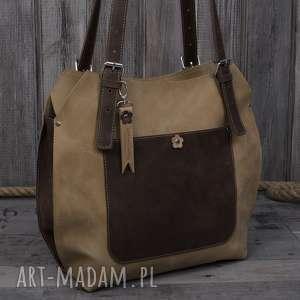 na ramię ręcznie robiona skórzana torebka brązowo beżowa, skórzane torby