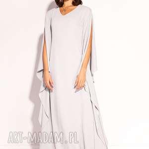 sukienka gala, wesele, jasnoszara, długa, elegancka, świadkowa, poprawiny