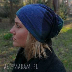 handmade czapki czapka damska w kratkę niebiesko - zielona mala wiosenna