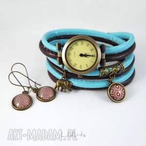 handmade zegarki komplet - słoń zegarek i kolczyki brązowy, niebieski antyczny