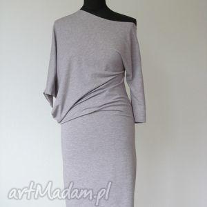 18 - asymetryczna sukienka z dzianiny dresowej, sukienka, dzianina, dresowa