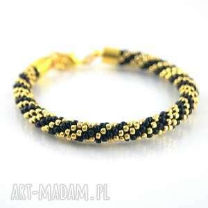 bransoletki złote paski, beading, bead-crochet, koralikowa, toho, szydełkowa, prezent