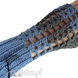 Bezpalczatki #3, mitenki, ażurowe, jeans, szydełkowe