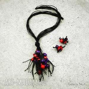 Fiolet i czerwień - komplet biżuterii, wieczorowy, naturalny, lekki, koral, indiański
