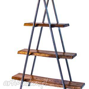 dom regał tahat industrialny jesion i stal, regał, drewno
