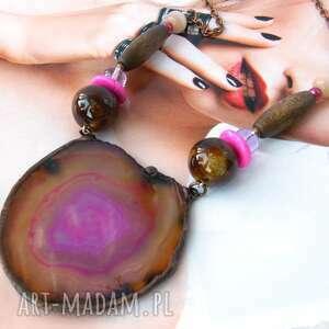 Naszyjnik z agatem: brązowo - różowy naszyjniki witrazka