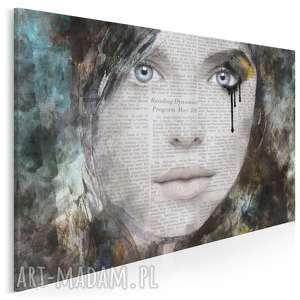 obraz na płótnie - portret kobieta słowa 120x80 cm 48101, kobieta