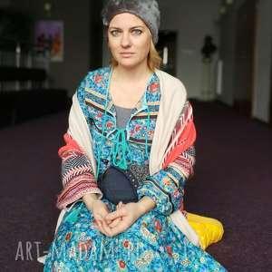 czapka futrzana zimowa ciepła handmade kolor szara, futro, czapka, ciepła, boho