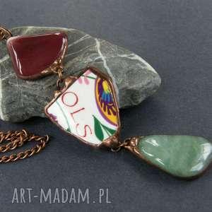 wisiorki wisior z łańcuszkiem etno bordowo-zielony, długi naszyjnik, wisiorek