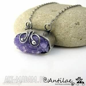 Fioletowy agat z druzą, srebro, długi naszyjnik, agat, druza, fiolet