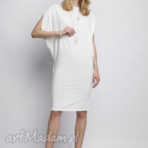 Sukienka, SUK102 ecru, casual, kimono, tunika, biała, miejska, midi