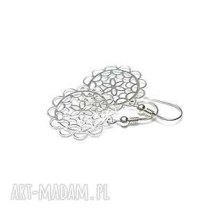 srebrne rozety - kolczyki