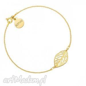 złota bransoletka z ażurowym liściem - minimalistyczny