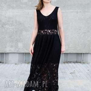 koronkowa sukienka maxi z falbanką, koronowa, maxi, maksi, przezroczysta